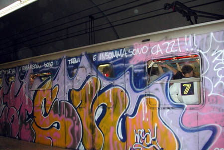 Vandalized trains are the rule, not the exception, in Rome.