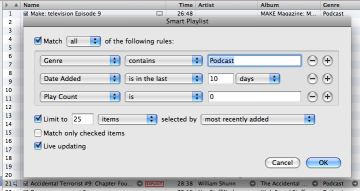 iTunes Smart Playlist settings for showing recently downloaded podcasts